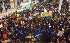 Thousands of protesters gathered at JFK airport in New York City Saturday in protest of people detained under Trump's executive order. Stephanie Keith/Getty